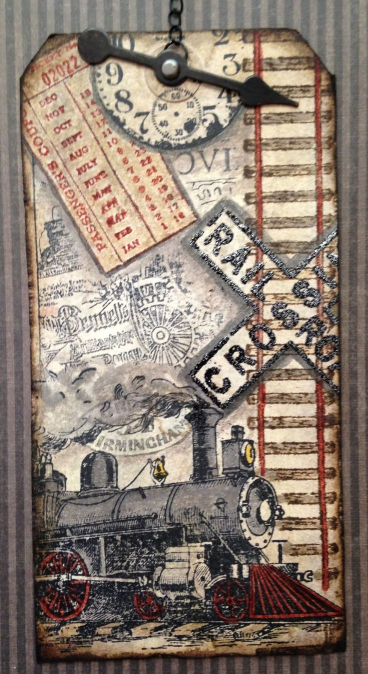 Tim Holtz August 2013 Tag:Train Travel Close-- Mary Elizabeth 8.29.13