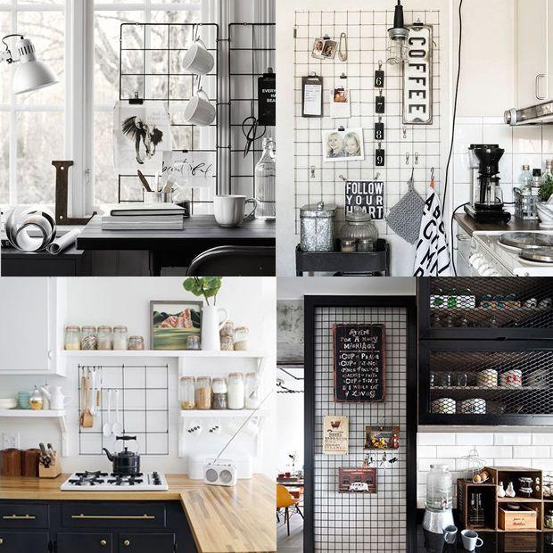 É na cozinha que quadrinhos, xícaras e utensílios de cozinha ganham vida. O painel aramado pode ser colocado em um espaço livre ou em uma parede, mas também ao lado do fogão, em cima da bancada, perto da cafeteira e muito mais.