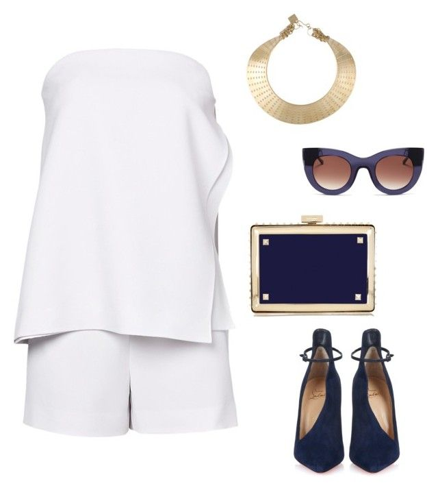 """Nautical Navy and White!"" by anywhichwaystyling on Polyvore featuring Christian Louboutin, Thierry Lasry, Valentino and Kelly Wearstler"