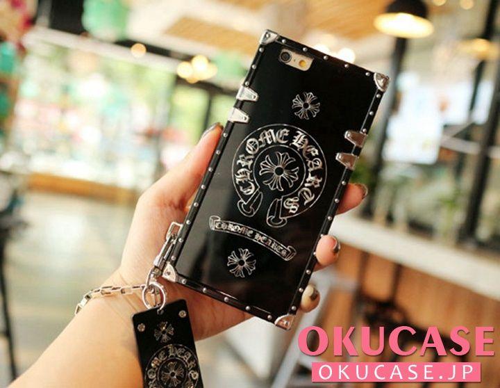 トランク型 iPhone Xケース クロムハーツ iphone8 個性ブランド iphone8plusカバー ハンドチェーン付き iphone7プラスカバー ブラック