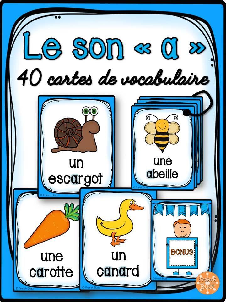 """40 cartes de vocabulaire avec des mots contenant le son """"a"""". Ces cartes peuvent être utilisées dans des jeux de lecture ou comme référentiel pour ce son."""