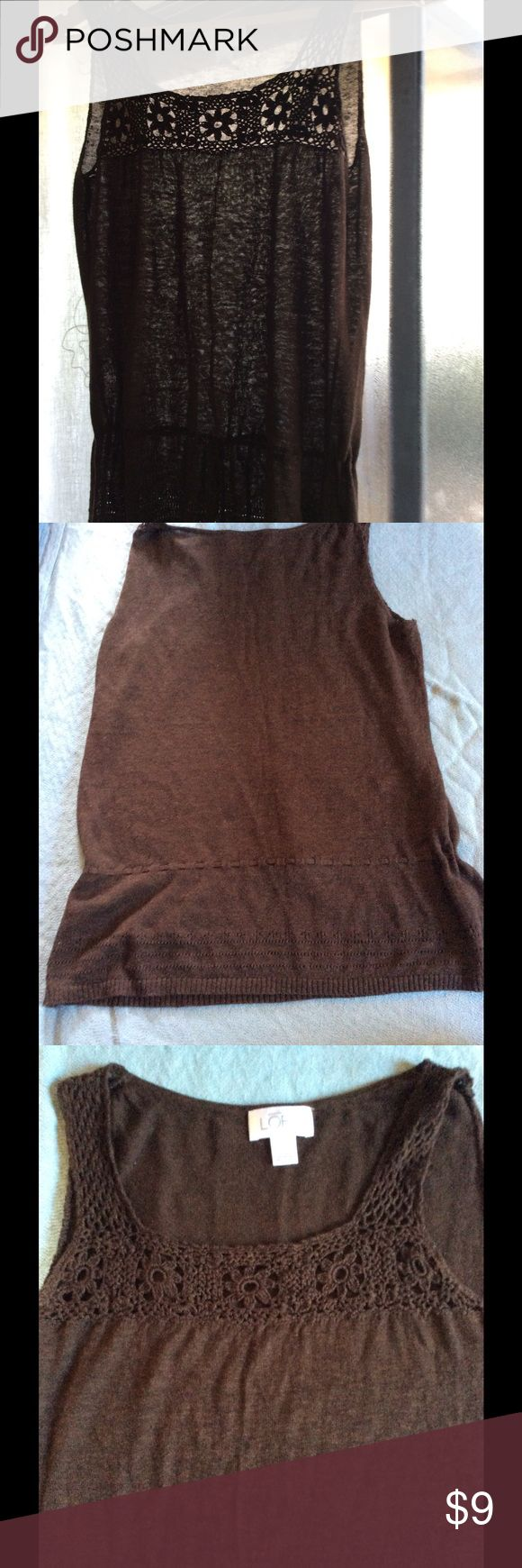 Anne Taylor Loft Brown Sleeveless Sweater Classy dark brown sleeveless sweater with tie front. Gently worn and waiting to the right pants, jeans or skirts to hang out with. 55% Linen 45% Viscose. anne taylor loft Sweaters