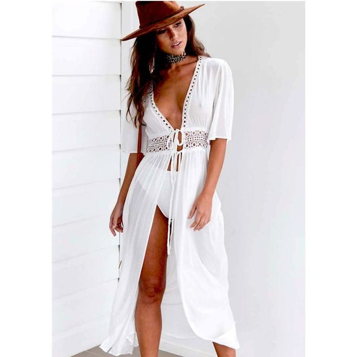 Long Dress Style Beach Cover Up With Lace Detail