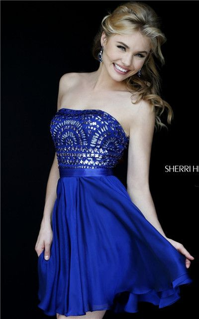 2015 Sherri Hill 1961 Royal Beaded Strapless Cheap Short Homecoming Dress