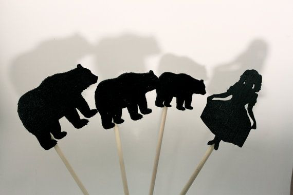Goldilocks & The Three Bears Shadow Puppets Wooden Children's Toys Imaginative Play on Etsy, $34.51 AUD