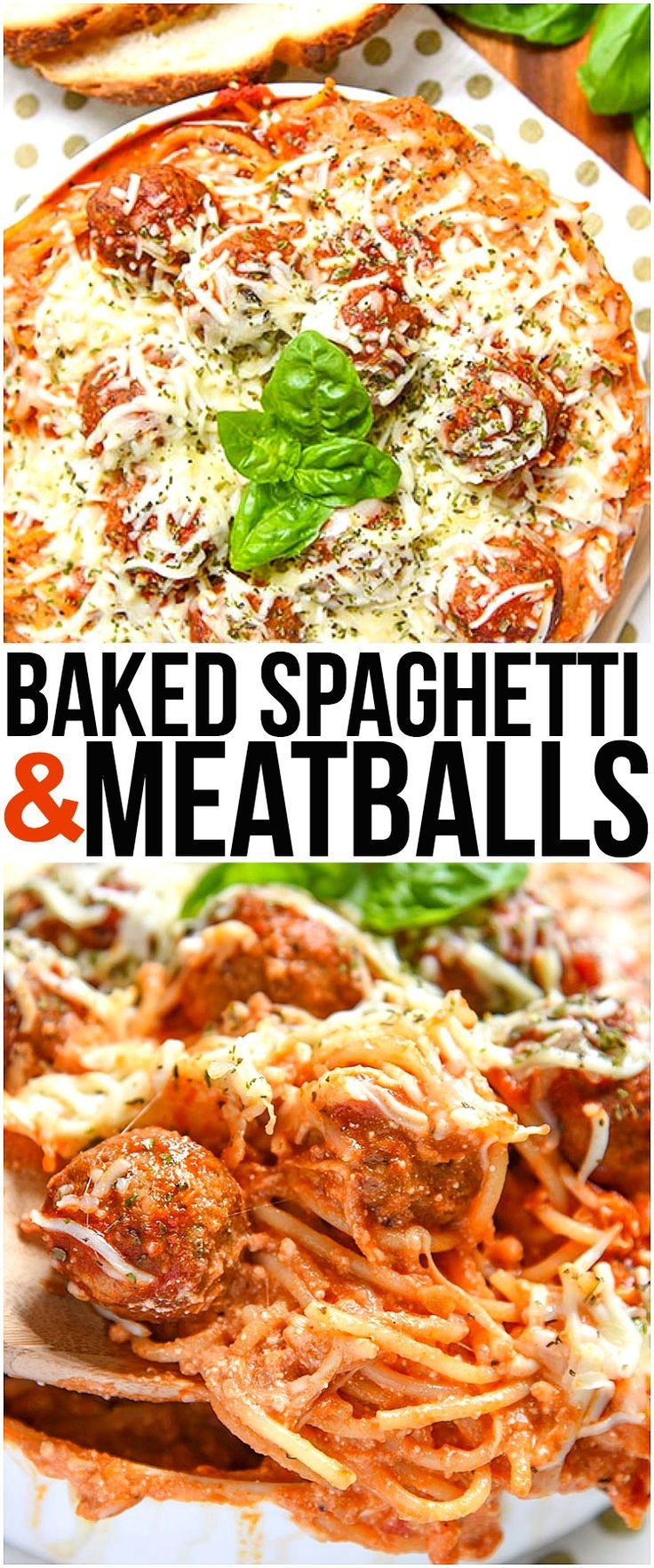 Baked Spaghetti and Meatballs is an easy dinner recipe of Italian Meatballs with Homemade Marinara Sauce, Pasta, Italian Cheese, and Spice.   via @CourtneysSweets