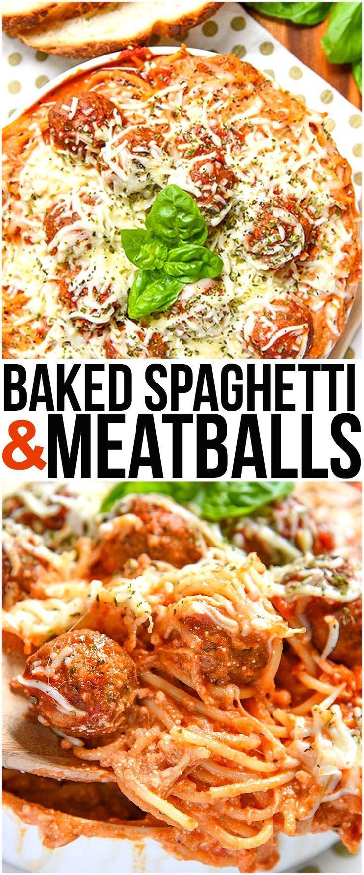 Baked Spaghetti and Meatballs is an easy dinner recipe of Italian Meatballs with Homemade Marinara Sauce, Pasta, Italian Cheese, and Spice.   via @CourtneysSweets