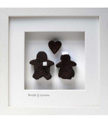 Bride & Groom with Heart.  Bog Buddies