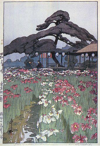 Iris Garden in Horikiri  by Hiroshi Yoshida, 1928