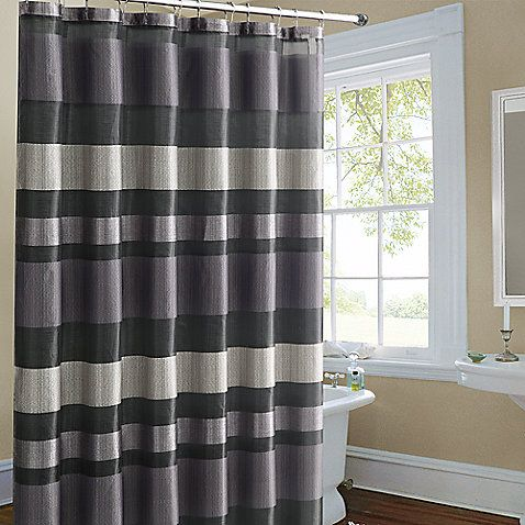 Metallic Striped Purple Fabric Shower Curtain From Bed Bath & Beyond