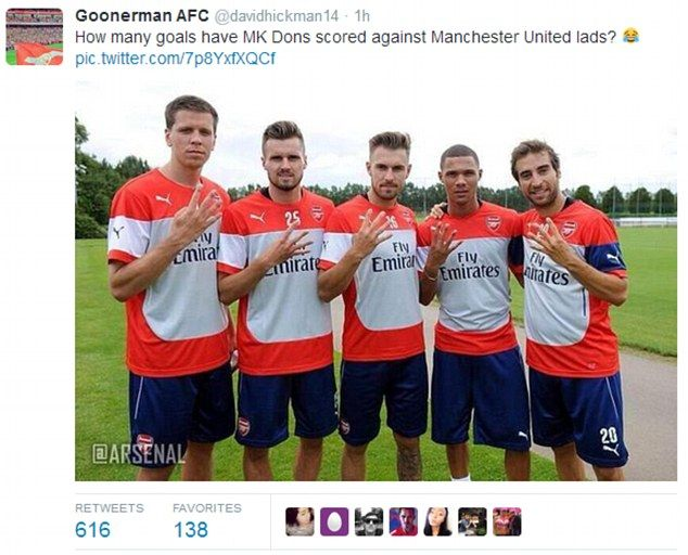 Rubbing it in: Rival supporters were not going to miss an opportunity to celebrate United'...