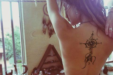 Vintage Compass Arrow Tattoo Ideas Back Tattoos for Women - MyBodiArt.com