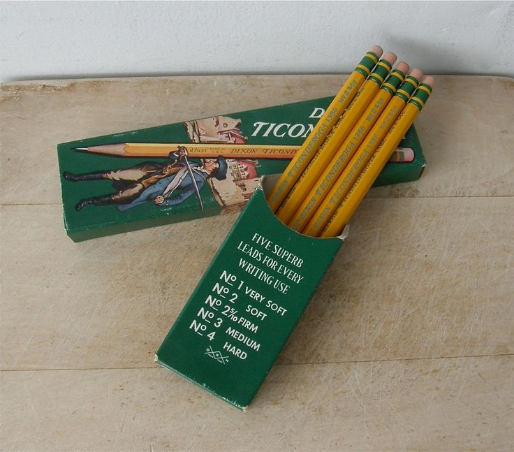 5 DIXON TICONDEROGA PENCILS Original Box with Minute Man Graphics No. 2/1386 Soft Lead Eraser Mint Condition Vintage Partial Box of Five by OnceUpnTym on Etsy