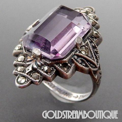 Vintage Uncas Mfg Sterling Silver Amethyst Marcasites Art Deco Ring - – Gold Stream Boutique