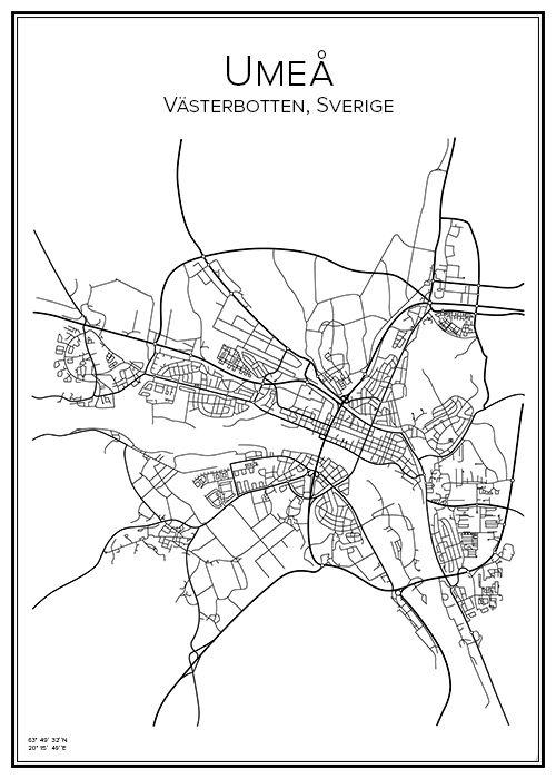 Umeå. Sweden. Map. City print. Print. Affisch. Tavla. Tryck.
