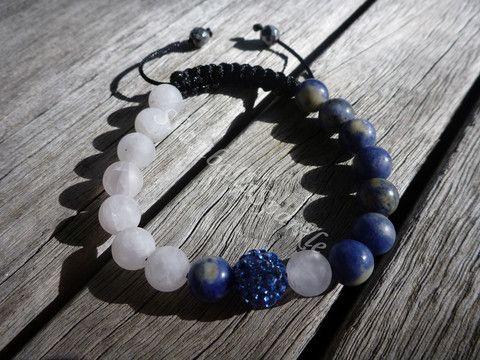 Yin Yang Sodalite and Matte Rose Quartz Shamballa Bracelet