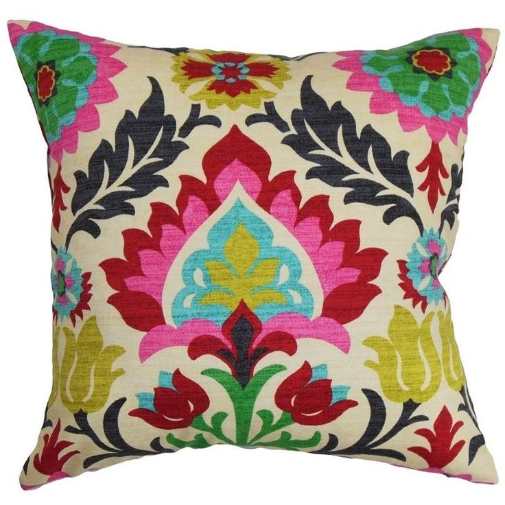 """The Pillow Collection 20"""" Square Tahsis Floral Throw Pillow - P20-D-42252-MULTI-C100"""