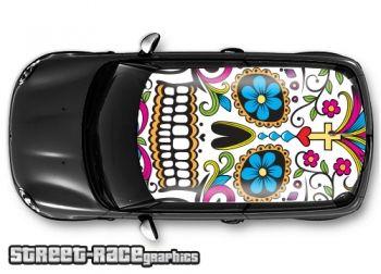 Sugar skull (dia de los muertos) - printed and laminated (air release) vinyl car roof graphics.