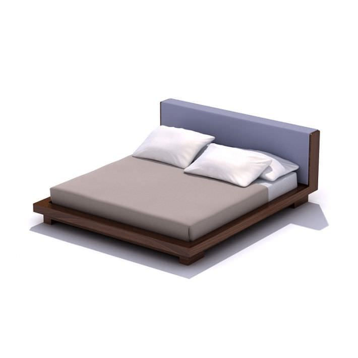 Dark Wood Bed Frame With A Bed Set 3d Model Dark Wood Bed