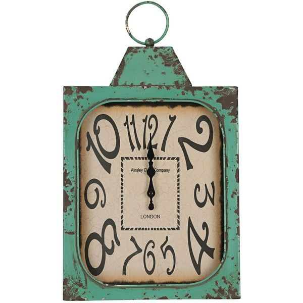 "Cooper Classics Stasia 19"" High Eclectic Wall Clock ($90) ❤ liked on Polyvore featuring home, home decor, clocks, green, battery wall clocks, battery powered wall clock, battery clock, green clock and battery powered clock"