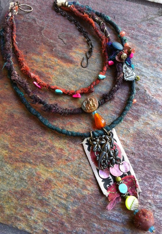 Colorful Tribal 3 Strand Textile Necklace by AlteredArcheology, $89.00