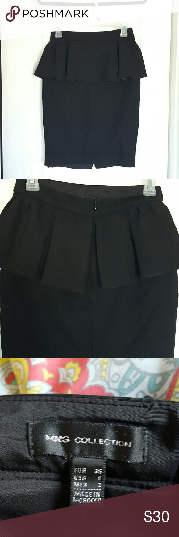 Peplum black skirt Sexy peplum skirt for work or formal events. Size small made in Morocco. Mango Skirts Midi
