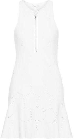 L'Etoile Sport - Mesh-paneled Stretch Pointelle-knit Tennis Dress - White