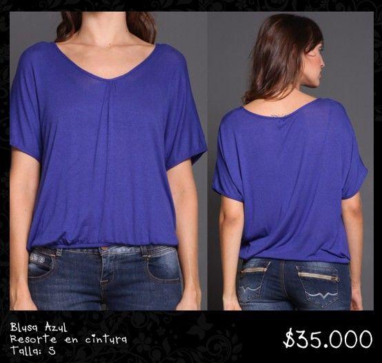 Blusa Azul Resorte en cintura Talla S
