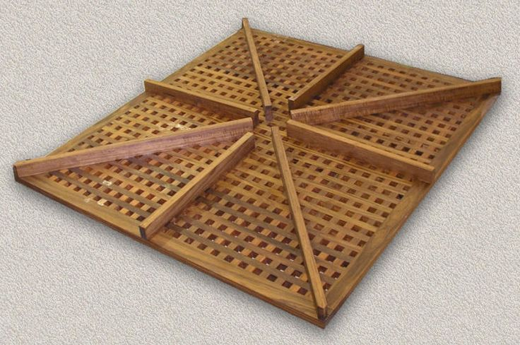 Solid Teak Shower Grates for Home  w/Risers to Match Threshold Height  Slope to Drain in Center