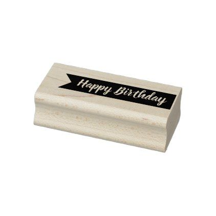 Happy Birthday Typography with Banner Rubber Stamp - birthday diy gift present custom ideas