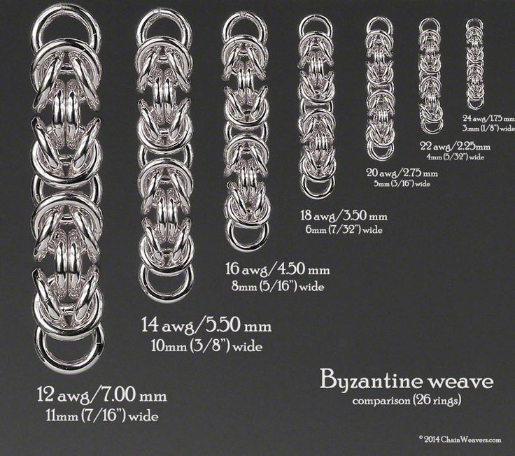 Byzantine weave showing ring size comparisons based on 26 rings.