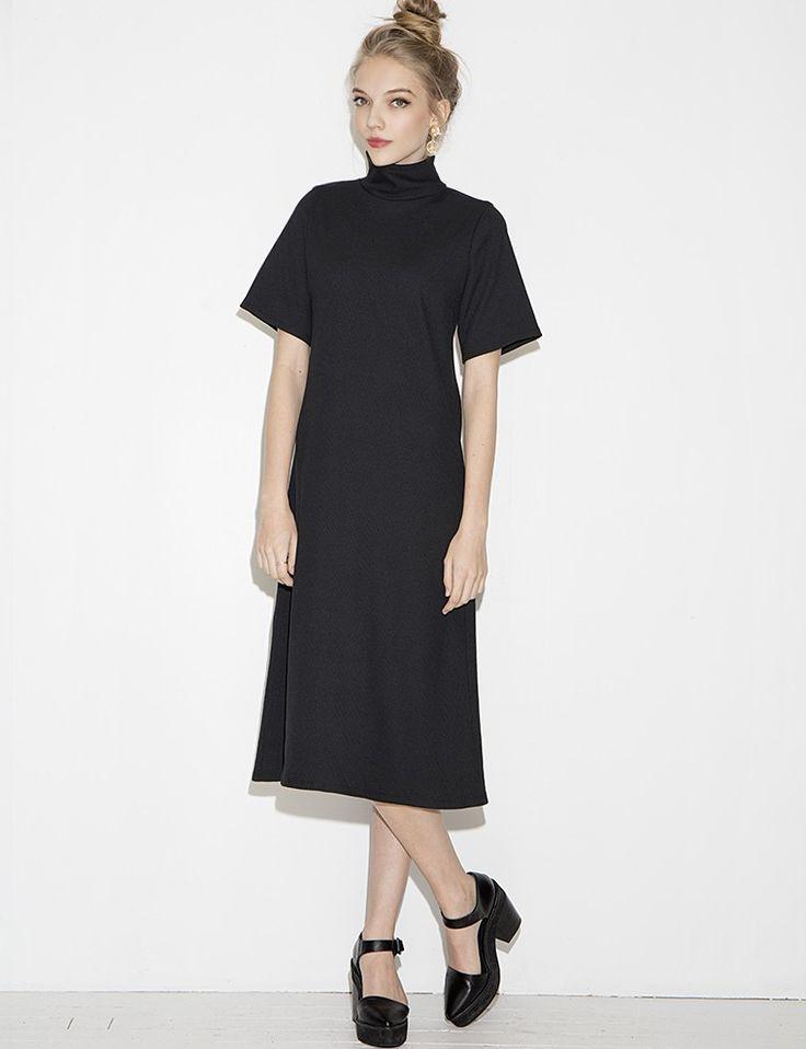 Black Mock Neck Midi Dress - Normcore Dress