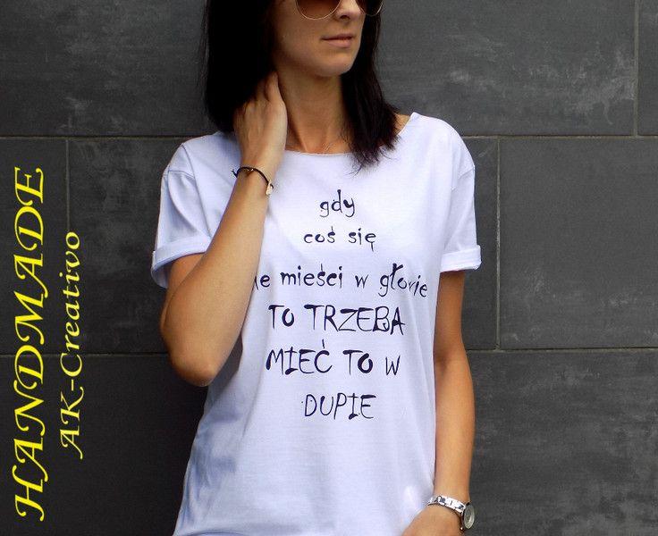 "t-shirt luźny fason ""GDY COŚ"" - AK-Creativo - Koszulki z napisami"