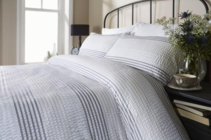 Grey & White Stripe Seersucker Duvet Cover Set / Bedding 100% Cotton | eBay