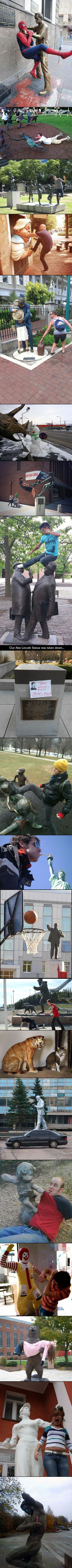 Here are some people who are having way too much fun with statues.