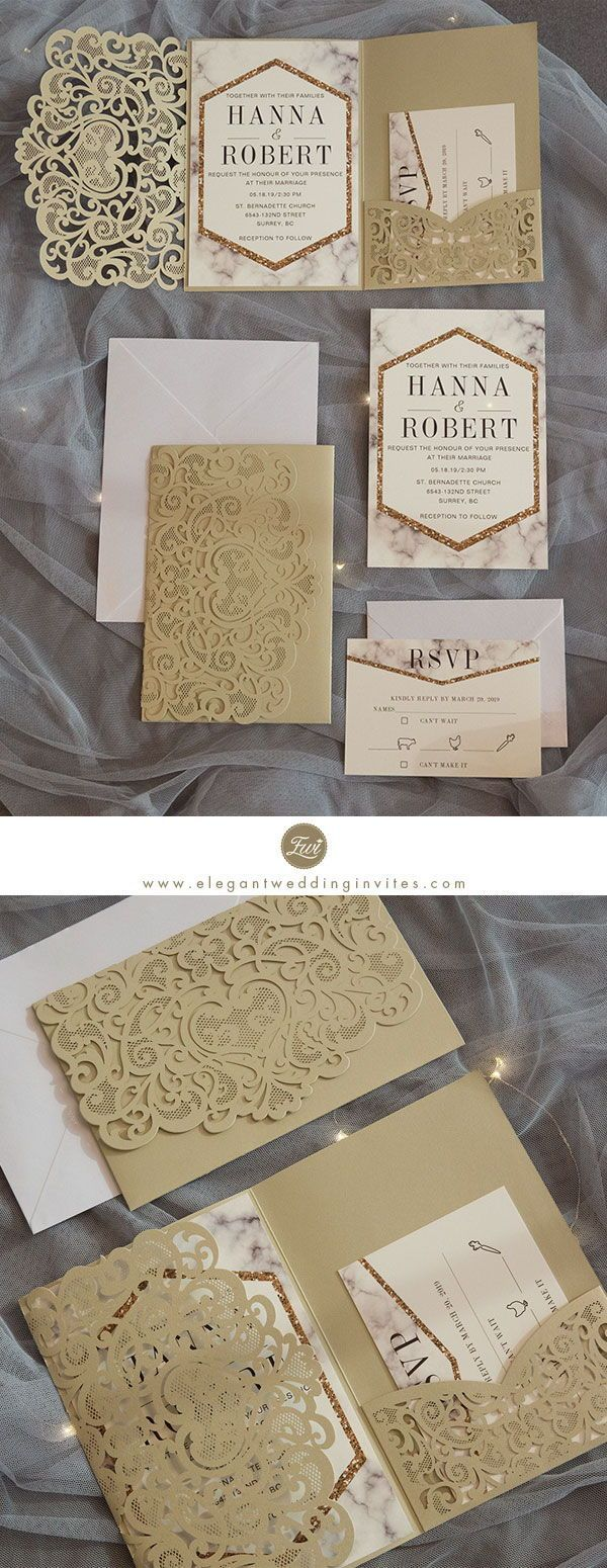 modern champgne gold laser cut pocket wedding