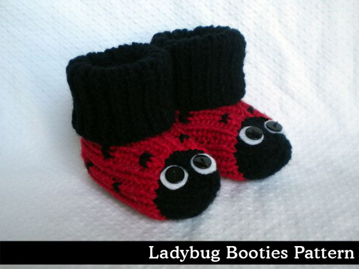 Ladybug Baby Booties Knitting Pattern