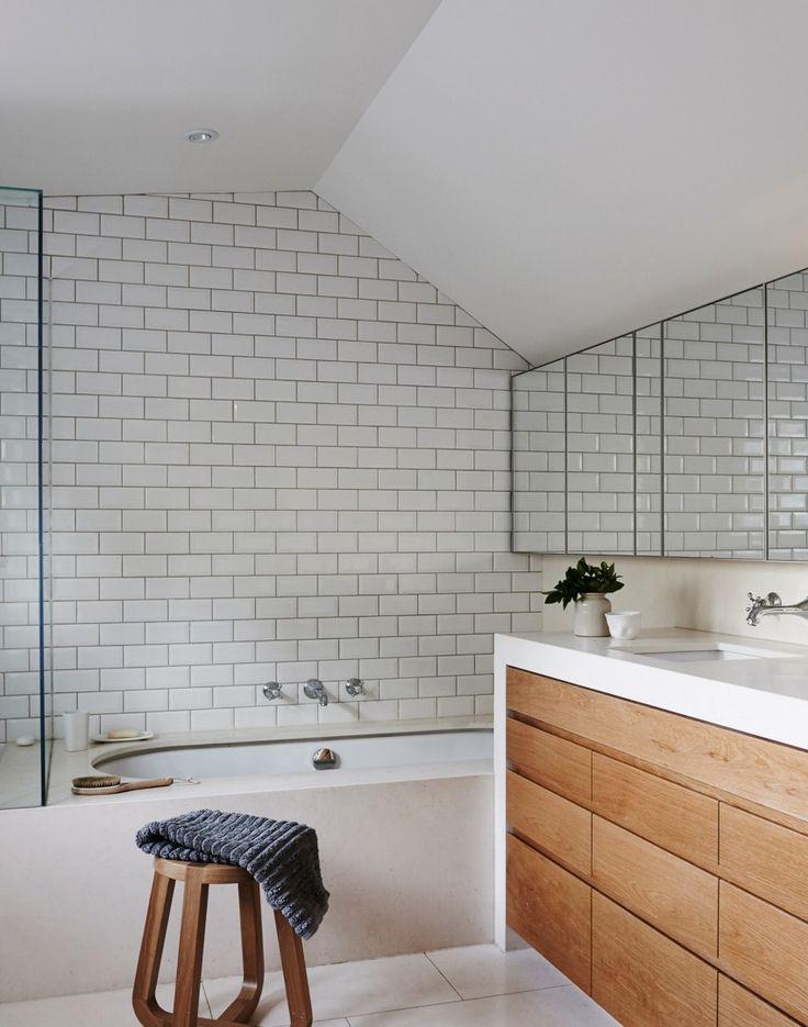 Modern Bathroom with White Metro Tiles /