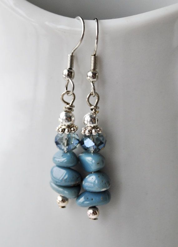 Lake Michigan Leland Blue stone nugget earrings with by Beechtree, $18.00