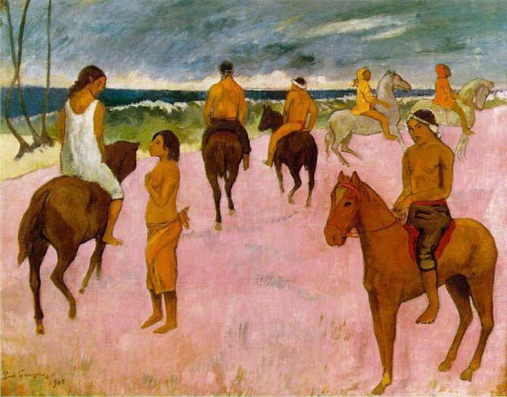 ゴーギャン 「海辺の騎手たち」 1902   73 x 92 cm  個人蔵