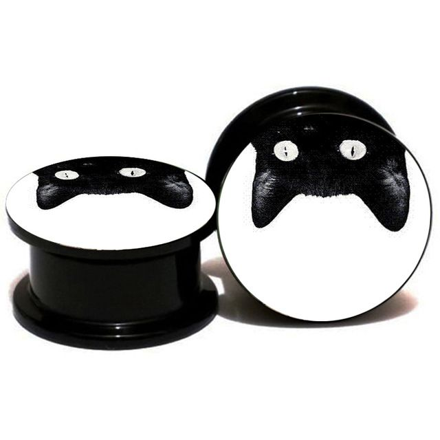 1Pair Acrylic Black Cat Ear Gauge Plug And Tunnels Ear Stretcher Expander 6mm-25mm Saddle Screw Fit Plug Piercing Jewelry