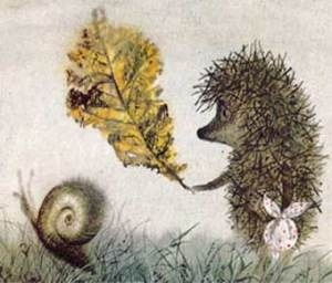 Hedgehog in the Fog by Sergey Kozlov, Yuriy Norshteyn, Francesca Yarbusova (Illustrator). The book is based on Francesca Yarbusova's sketches to the award-winning animated film directed by Yuri Norstein.
