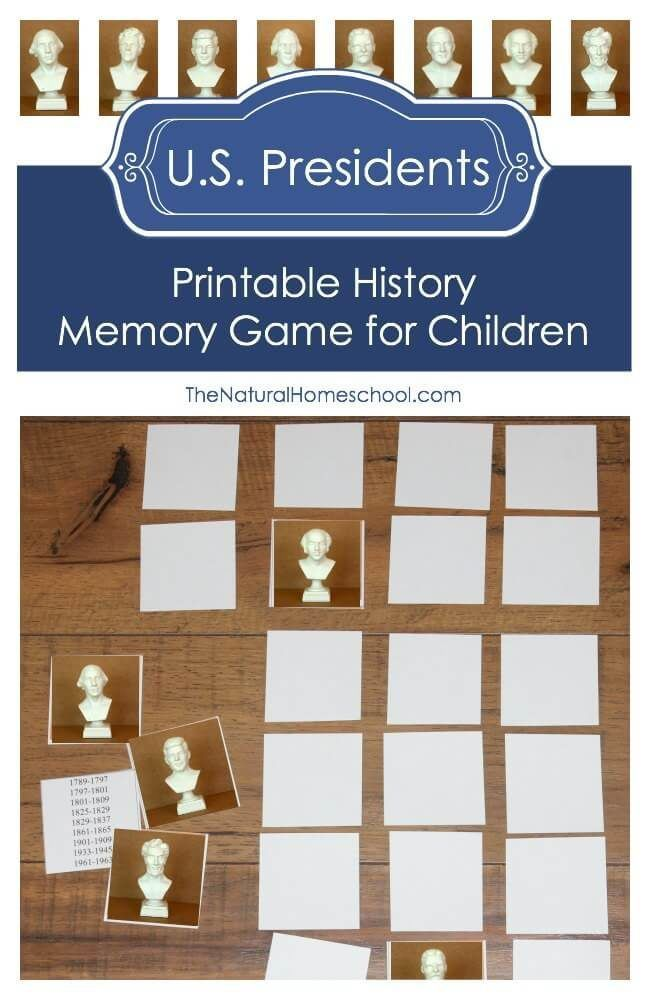 I am so excited to share with you this printable History Memory Game for children about some of the U.S. Presidents. It includes some facts about them as well as a list of the 8 Presidents in the right order.