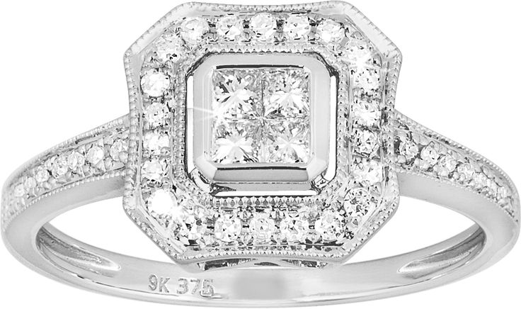 Octagon shaped illusion set halo diamond ring.