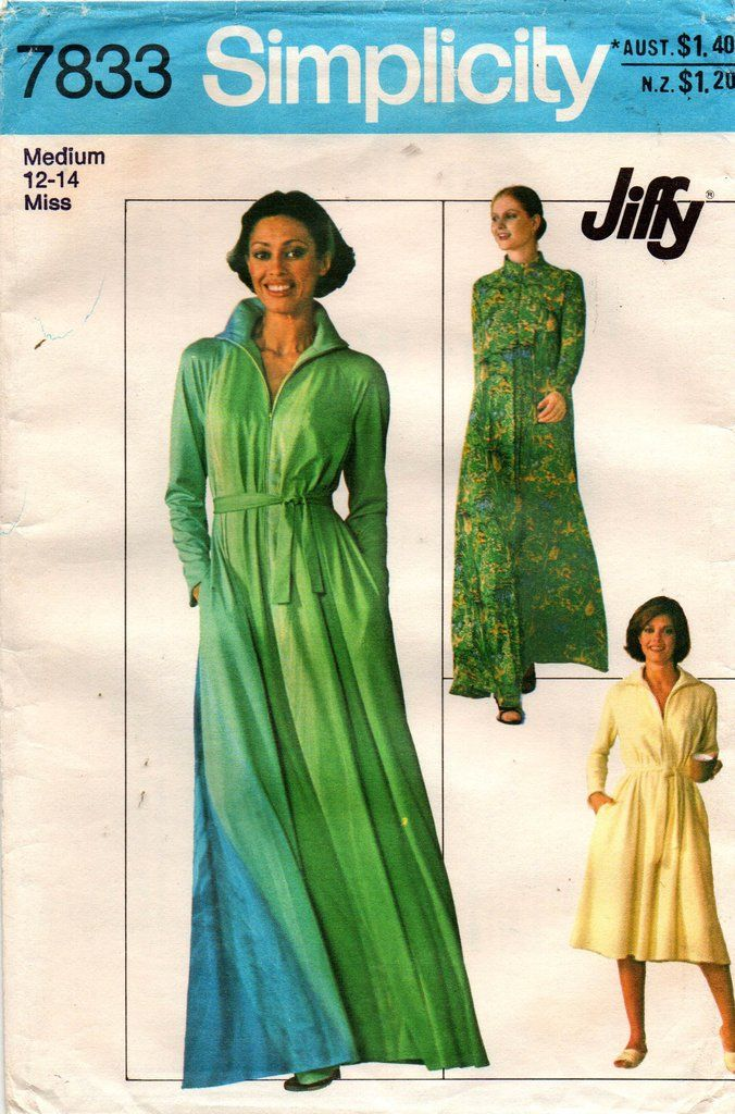 Simplicity 7833 Womens JIFFY Robe or Caftan Dress 70s Vintage Sewing  Pattern Size MEDIUM 14-16 UNCUT Factory Folds ba7cc4800