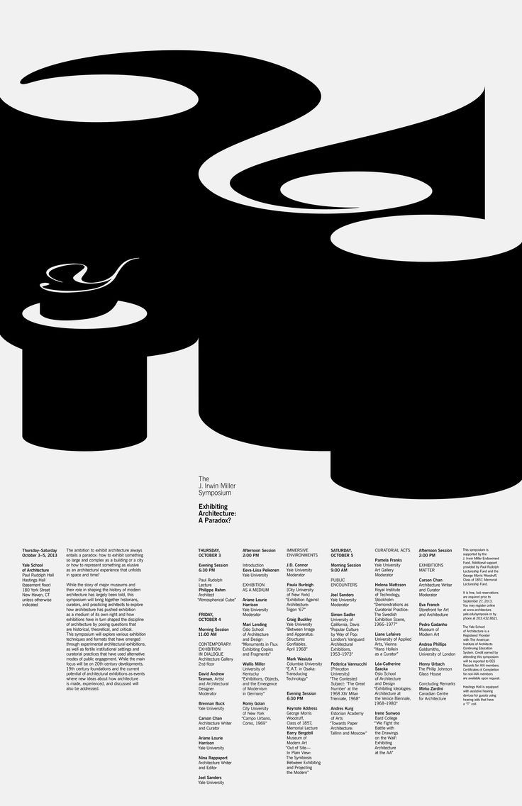 Since 1998, the Yale School of Architecture posters follow two specific design restraints: black and white on a standard poster size. Within these parameters, each of these posters uses custom typography to announce symposia, lectures, and exhibitions, while pushing their forms with simplicity and experimentation. By Jessica Svendsen.