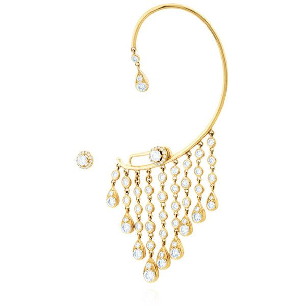 Avventura Asymmetrical Yellow Gold Cuff Earring by Marli ($11,600) ❤ liked on Polyvore featuring jewelry, earrings, yellow, gold chandelier earrings, gold earrings, asymmetrical earrings, 18k gold earrings and yellow earrings