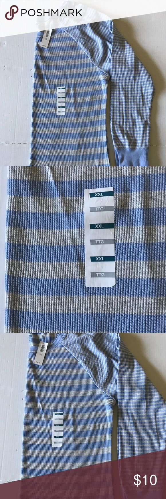 Old Navy Baby Blue & Grey stripped thermal XXL Old Navy Baby Blue   & Grey  stripped thermal XXL NEW with tags  Item #CA03 Old Navy Tops Tunics