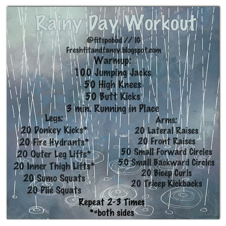 Rainy Day Workout. No excuses!