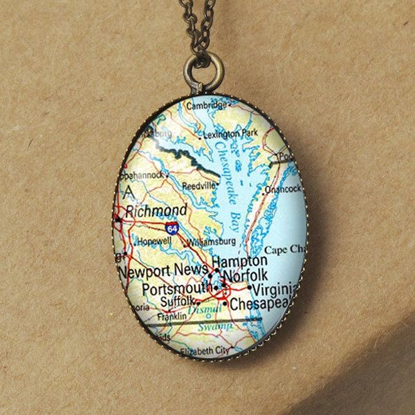 Chesapeake Bay Map Pendant Necklace Hampton Map Jewelry Norfolk Necklace Virginia Map Necklace